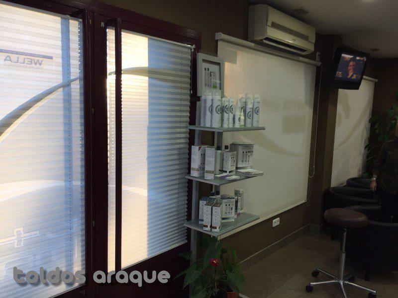 Empresa Toldos en Madrid toldos instaladores Araque Instalación de 2 estores enrollables y 2 cortinas plisadas Trabajos realizados