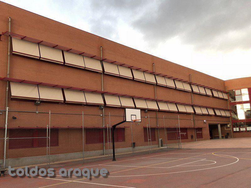 Empresa Toldos en Madrid toldos instaladores Araque Instalación de 36 toldos portada motorizados en IES Tirso de Molina Madrid Trabajos realizados