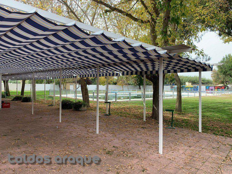 Empresa Toldos en Madrid toldos instaladores Araque Instalación de 12 pergolas 80 x 40 en San Martin de la Vega-Madrid Trabajos realizados