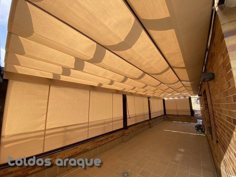 Empresa Toldos en Madrid  instaladores  Instalación de 3 Pergolas Aluminio 80 x 40 y 5 Cortavientos cofre en Pinto - Madrid Trabajos realizados