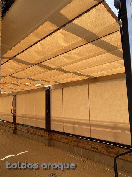 Empresa Toldos en Madrid toldos instaladores Araque Instalación de 3 Pergolas Aluminio 80 x 40 y 5 Cortavientos cofre en Pinto - Madrid Trabajos realizados